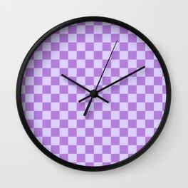 Pale Lavender Violet and Lavender Violet Checkerboard Wall Clock