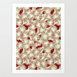 Circle of Leafs - Red Art Print