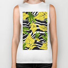 ZEBRA PALMS AND FERNS YELLOW AND GREEN Biker Tank