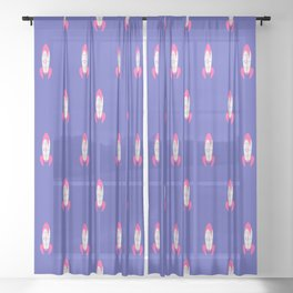 We have lift off!! purple Sheer Curtain