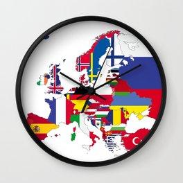 Europe flags white Wall Clock