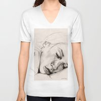 sleep V-neck T-shirts featuring SLEEP by Joelle Poulos