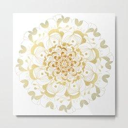 Gold Mandala Flower Art Metal Print