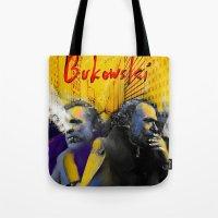 bukowski Tote Bags featuring Bukowski by Zmudart