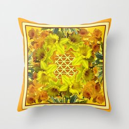 VIGNETTE OF YELLOW SPRING DAFFODILS GARDEN Throw Pillow