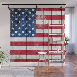 Distressed American Flag On Wood Planks - Horizontal Wall Mural
