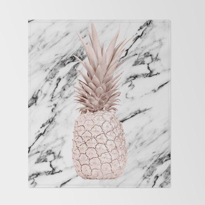 Pineapple Rose Gold Marble Throw Blanket