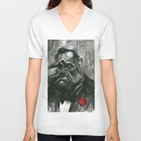 godfather V-neck T-shirts featuring The Godfather by MK-illustration