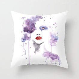 Red Eyes Red Lips two Throw Pillow