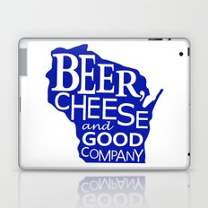 Blue and White Beer, Cheese and Good Company Wisconsin Graphic Laptop & iPad Skin