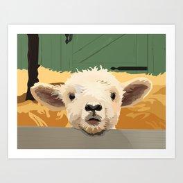Sweet Lamb in the Barnyard Art Print