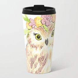 Owl floral watercolor Travel Mug