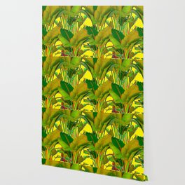 GOLDEN TROPICAL FOLIAGE GREEN & GOLD LEAVES AR Wallpaper