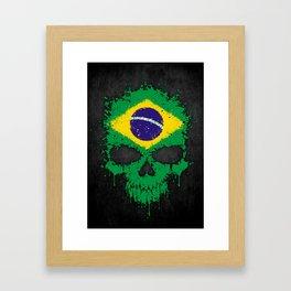 Flag of Brazil on a Chaotic Splatter Skull Framed Art Print