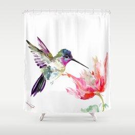 Little Hummingbird and Pink Flower, Bird art, minimalist bird painting, soft pink olive green design Shower Curtain