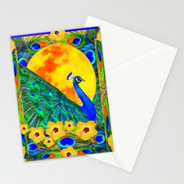 YELLOW HIBISCUS FULL GOLDEN MOON  BLUE PEACOCKS Stationery Cards