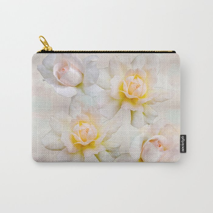 Romantic pastel roses on a paper textured background Carry-All Pouch