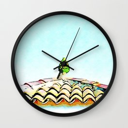 View roof with ceramic pine cone Wall Clock