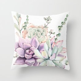Succulents Mint and Purple by Nature Magick Throw Pillow