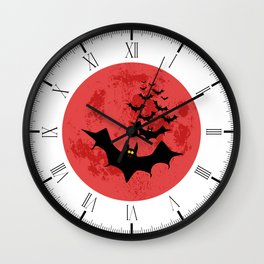 Vampire Bats Against The Red Moon Wall Clock