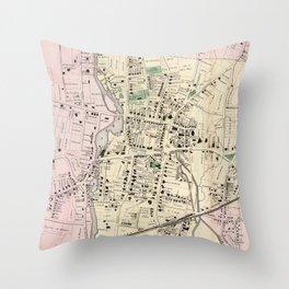 Vintage Map of Stamford CT (1867) Throw Pillow