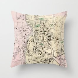 Vintage Map of Stamford CT (1867) Throw Pillow