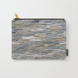 Gray Slate Stone Brick Texture Faux Wall Carry-All Pouch