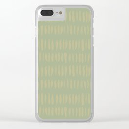 Earthy Green on Sweet Pea Green Parable to 2020 Color of the Year Back to Nature Bold Grunge Dashes Clear iPhone Case