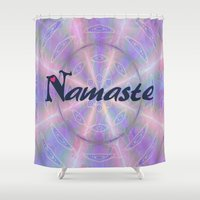 namaste Shower Curtains featuring Namaste by Stay Inspired