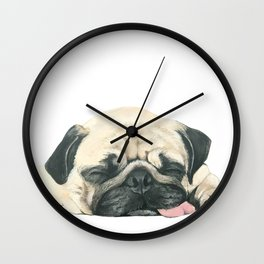 Nap Pug, Dog illustration original painting print Wall Clock