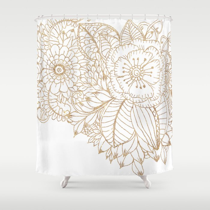 Elegant White Faux Gold Glitter Modern Floral Shower Curtain