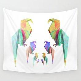 Iridescent Origami Birds Wall Tapestry