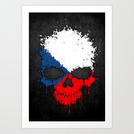 Flag of Czech Republic on a Chaotic Splatter Skull Art Print