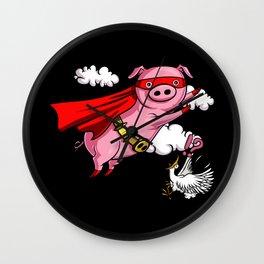 Funny Flying Pig Farm Animal Wall Clock