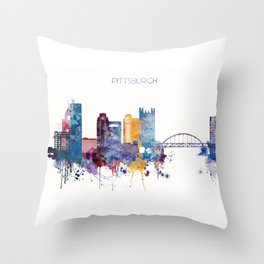 Watercolor cityscape of Pittsburgh Throw Pillow