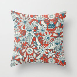 sarilmak fire orange blue Throw Pillow