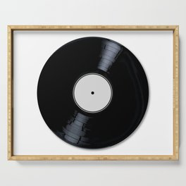 White Record Label Serving Tray