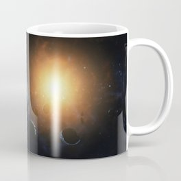 Small planet surrounded by asteroids. Outer Space, Cosmic Art and Science Fiction Concept. Coffee Mug