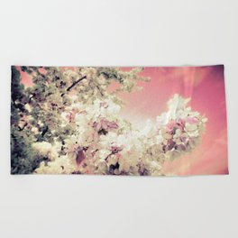 Pink Lavender Flowers Beach Towel