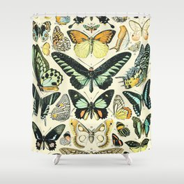 Butterflies and Moths Vintage Illustration Drawing by Adolphe Millot of Monarch Butterfly Moth Bug Shower Curtain