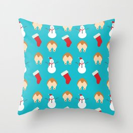 Christmas Corgi Butts Throw Pillow