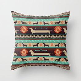 Boho dogs | Smooth Dachshund sunset Throw Pillow