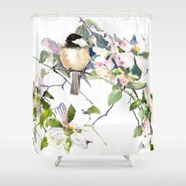 Chickadee and Dogwood Flowers Shower Curtain