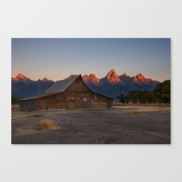 Moulton Barn - Sunrise in Grand Tetons Canvas Print