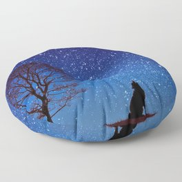 Lovely Cute Wolf Silhouette Howling At Dreamy Full Moon Ultra HD Floor Pillow