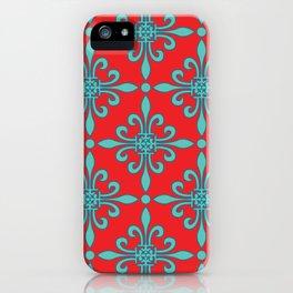 Fleur de Lis - Red & Turquoise iPhone Case
