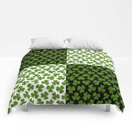 Green Shamrocks Pattern on Black and White Comforters