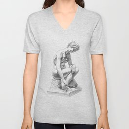 Girl with snail, Musee de Picardie. Unisex V-Neck
