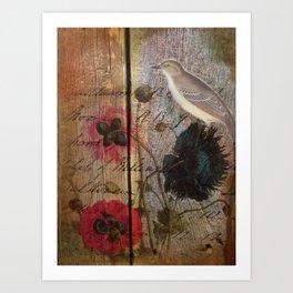 elegant  wood grain vintage bird scripts poppy flowers botanical art Art Print
