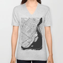 Montreal Map Gray Unisex V-Neck